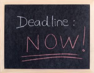now deadline written on blackboard